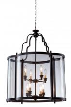 Artcraft AC1432BZ - Eight Light Dark Bronze Crystal Clear Glass Framed Glass Foyer Hall Fixture