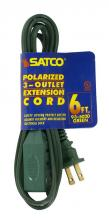 Satco Products Inc. 93/5020 - Extension Cords 16/2 SPT-2 All extension cords rated at 13A 125V 1625 watts maximum and supplied wit