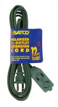 Satco Products Inc. 93/5022 - Extension Cords 16/2 SPT-2 All extension cords rated at 13A 125V 1625 watts maximum and supplied wit