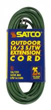Satco Products Inc. 93/5024 - #16/3 Ga. SJTW-3 Green Outdoor Extension Cords 25 Ft. 16-3 SJTW-3 Green Cord W/Sleeve 13A/125V 1625W