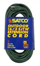 Satco Products Inc. 93/5025 - #16/3 Ga. SJTW-3 Green Outdoor Extension Cords 50 Ft. 16-3 SJTW-3 Green Cord W/Sleeve 13A/125V 1625W