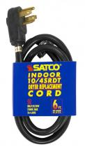 Satco Products Inc. 93/5029 - 6 ft. - 4 Wire 10-4 SRDT Black Round 30A/125V-250V 7,500W 12 Indoor Use Only