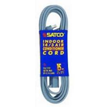 Satco Products Inc. 93/5000 - #14/3 Ga. Spt-3 Gray Air Conditioner/Appliance Cords 3 Ft. 14-3 Spt-3 Gray Cord W/Sleeve 15A/125V 18